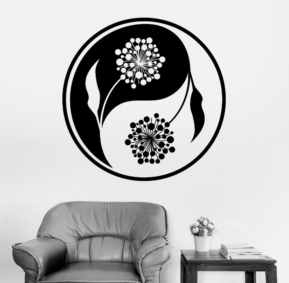 Mandala wall sticker home decal buddha yin yang floral for Decal wall art mural