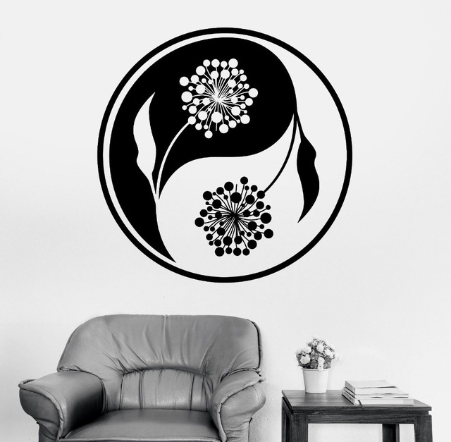 Mandala Wall Sticker Home Decal Buddha Yin Yang Floral Yoga Meditation Vinyl Decal Wall Art Mural Home Decor Decoration D175