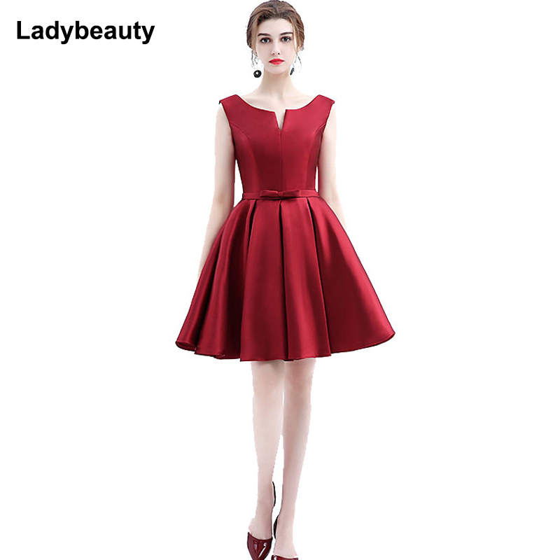 2018 new design A-line short   dresses   V-opening back   cocktail   party lace-up   dress   veatidos de festa Hot sale free shipping