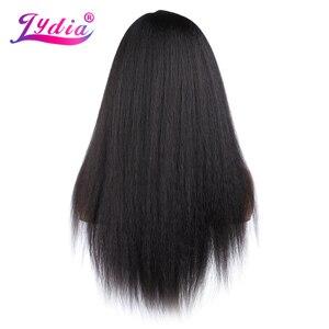 Image 2 - Lydia peruca cabelo sintético, cabelo sintético longo, para mulheres afroamericanas, natureza preta 18 22 Polegada, kanekalon afro