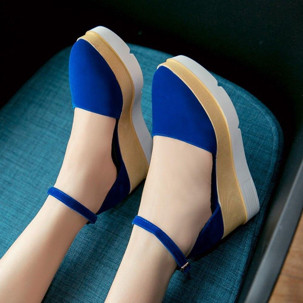 Mujer Casual Talon Pompe Zapatos Automne De Femmes bleu Cru Cheville Muqgew Coin Chaussures Boucle Plate Noir Haut rouge forme E9WHIDY2