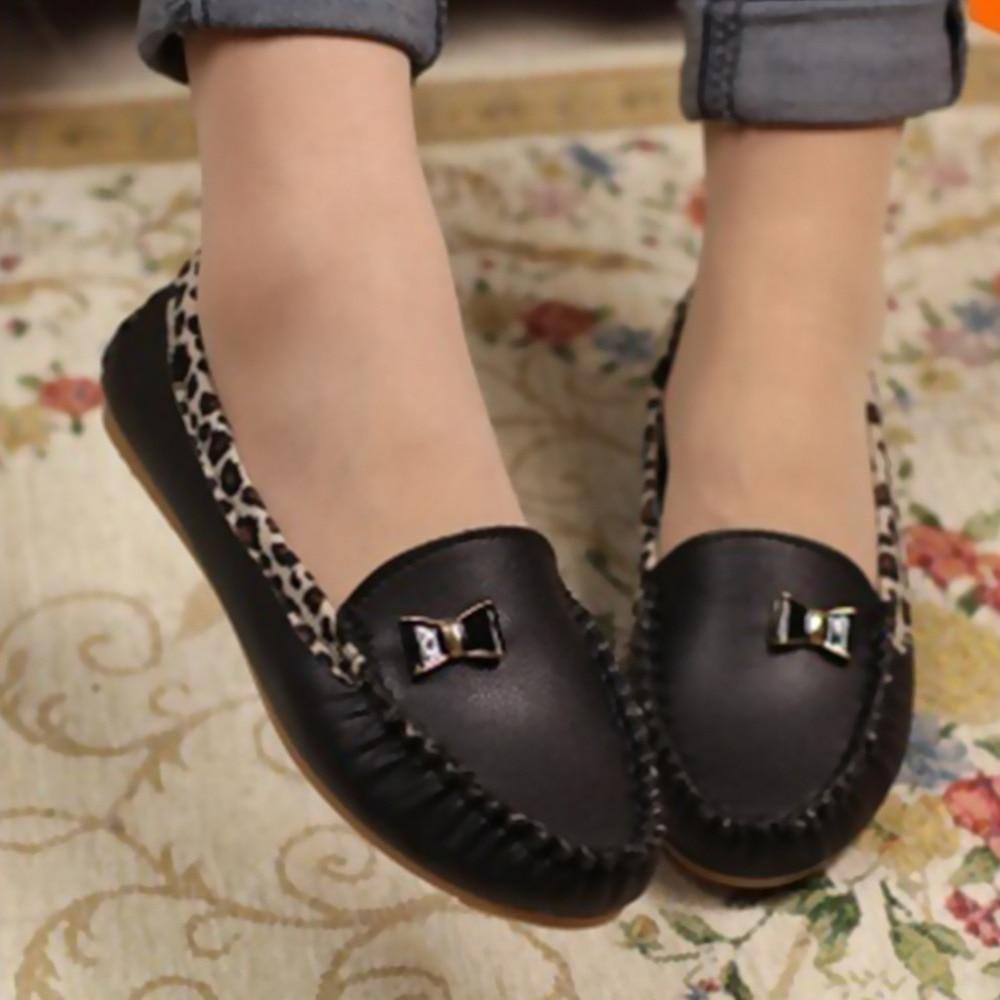 Casual flat shoes flat heel female Moccasins PU plus size women ...