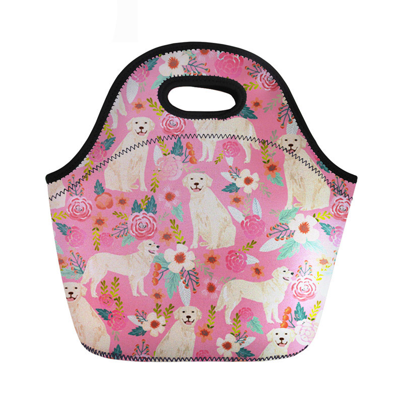 Fashion Women Neoprene Lunch Bag Cute Golden Retriever Pattern Zipper for Food Package Children Girls Snack Meal Handbags