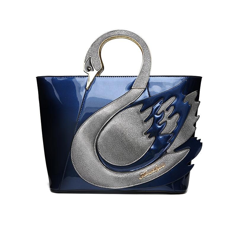 Ameiliyar Brand New Swan Women Patent Leather Handbags Large Capacity Shopping Bag Fashion Totes Shoulder Bag
