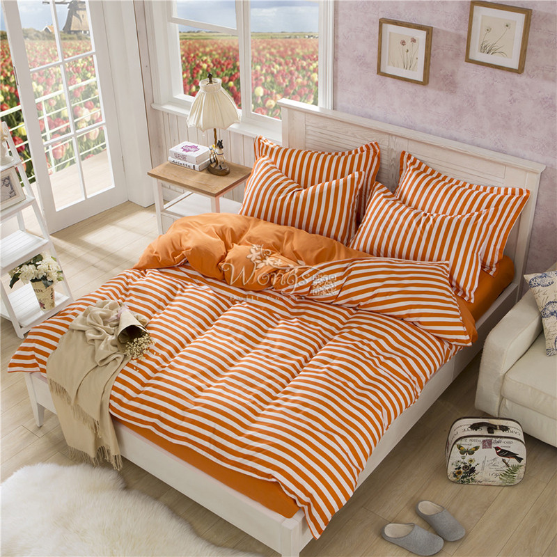 2016 Discount Bedding Set Orange Striped Queen Size Bed
