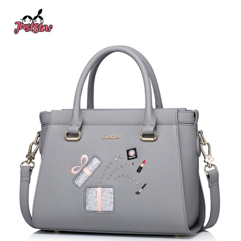 ФОТО JUST STAR Women PU Leather Handbag Ladies Fashion Rivet Tote Shoulder Bag Female Leisure Embroidery Brand Messenger Bag JZ4243