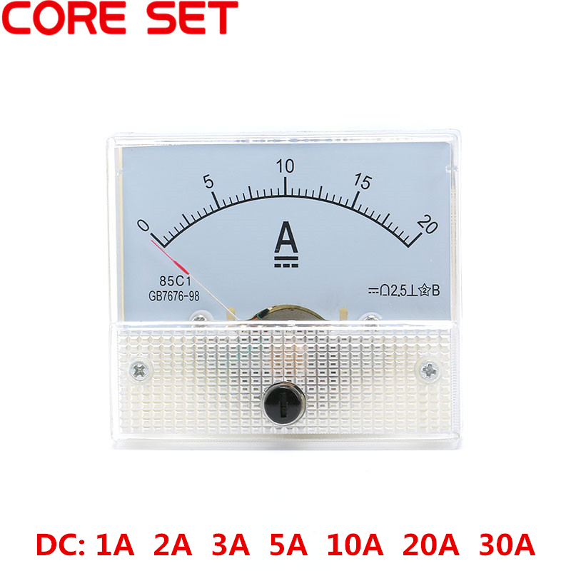 DC Analog Current Meter Panel 1A 2A 3A 5A 10A 20A 30A AMP Gauge Current Mechanical Ammeters 85C1 dc analog meter panel 15v current voltage ammeters 85c1 0 15v gauge
