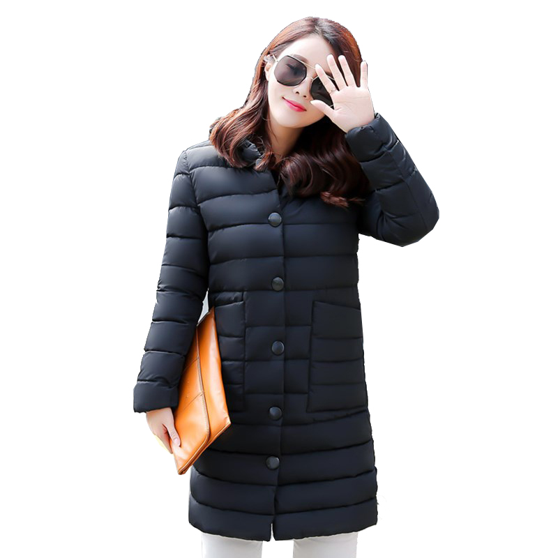 ФОТО 2016 New Autumn Winter Long Cotton Padded Coat Women Korean Slim Plus Size Jacket Hooded with Fur Ball Coats Warm Parkas ZA278