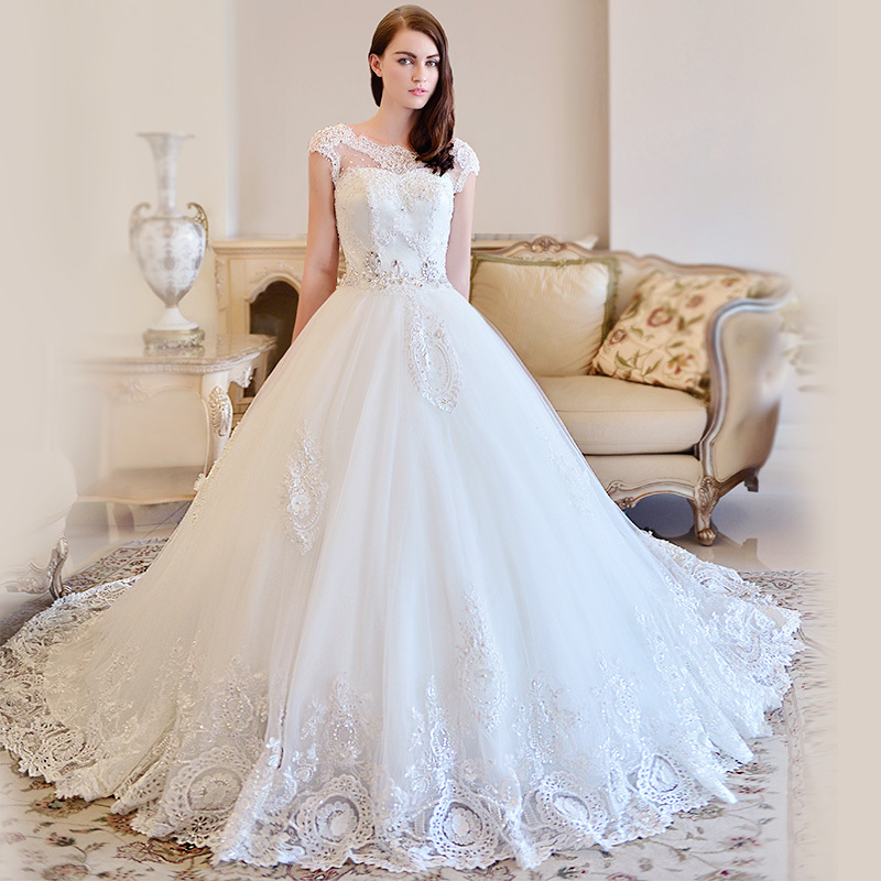 Wedding Dresess: OMYW0083 Cap Sleeve Lace Wedding Dresses Crystal Beads