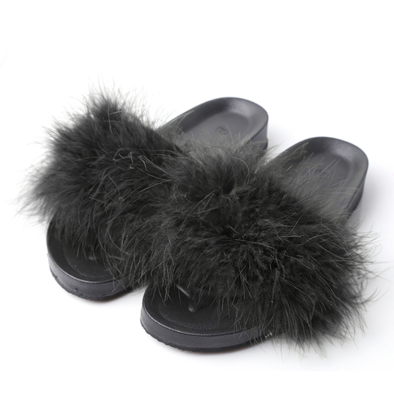 Female Sandals Platform Slide Feather-Shoes Home-Slippers Thick-Bottom Furry Flip-Flops