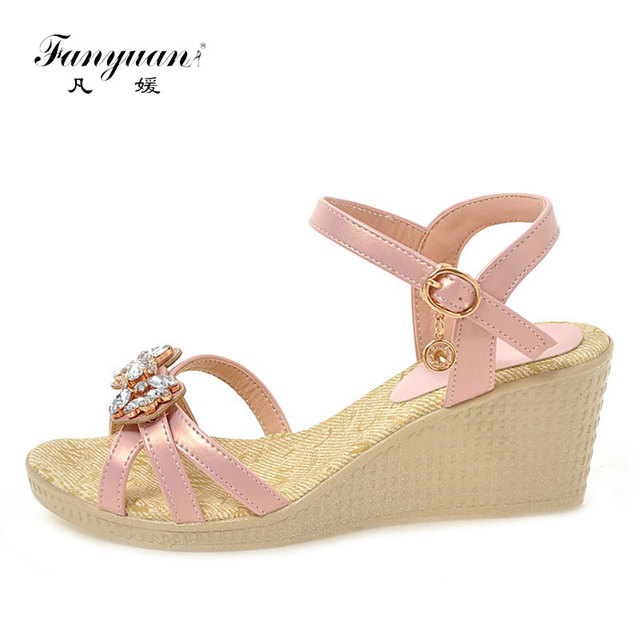 d3c40b002 Fanyuan Women's Sandals 2018 New Ladies Wedge Sandals Crystal  Butterfly-knot Female's Party Wear Shoes Platform Sandals Blue