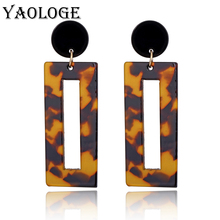 YAOLOGE Simple Rectangular Leopard Acrylic Earrings Fashion Multicolored Exaggerated Jewelry For Women Accessories New