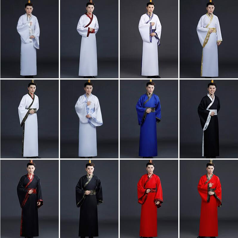 2019 Chinese National Hanfu Black Ancient China Costume Hanfu Men Clothing Traditional National Tang Suit Stage Costumes