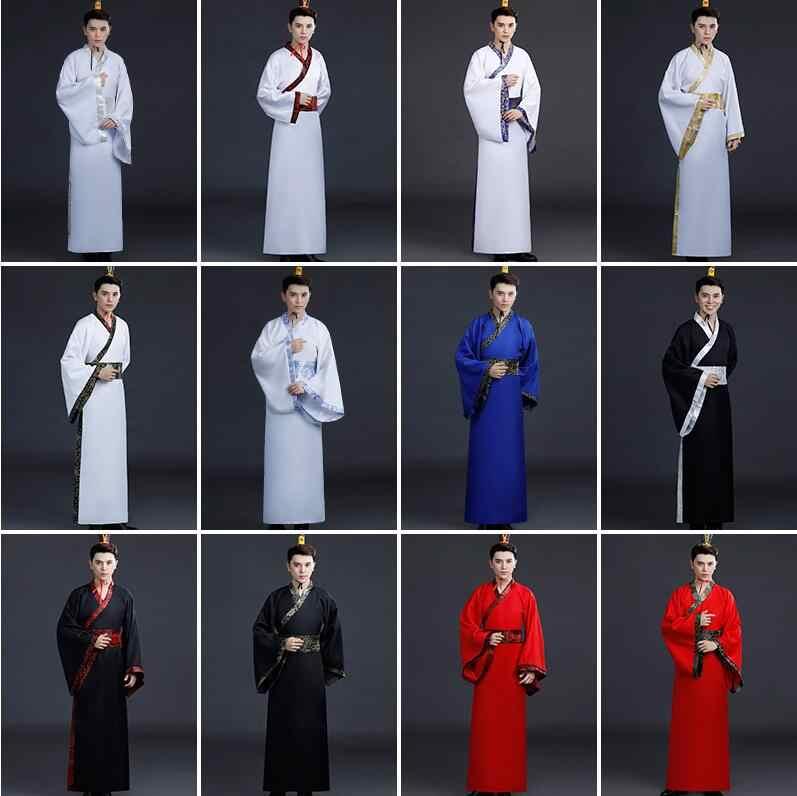 Starożytny chiński kostium mężczyźni tradycyjny chiński odzież do tańca dla kobiet z długim rękawem Hanfu satynowy szlafrok sukienka chłopiec dynastii qing