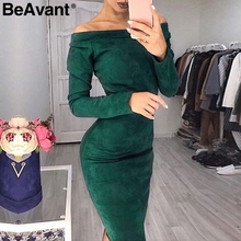 BeAvant Off shoulder suede bodycon dress elegant Long sleeve elastic sexy winter dress women Black party dresses christmas 2018