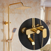 Juego de grifo de ducha de baño de aluminio dorado espacio grifo mezclador de ducha de baño dorado vintage