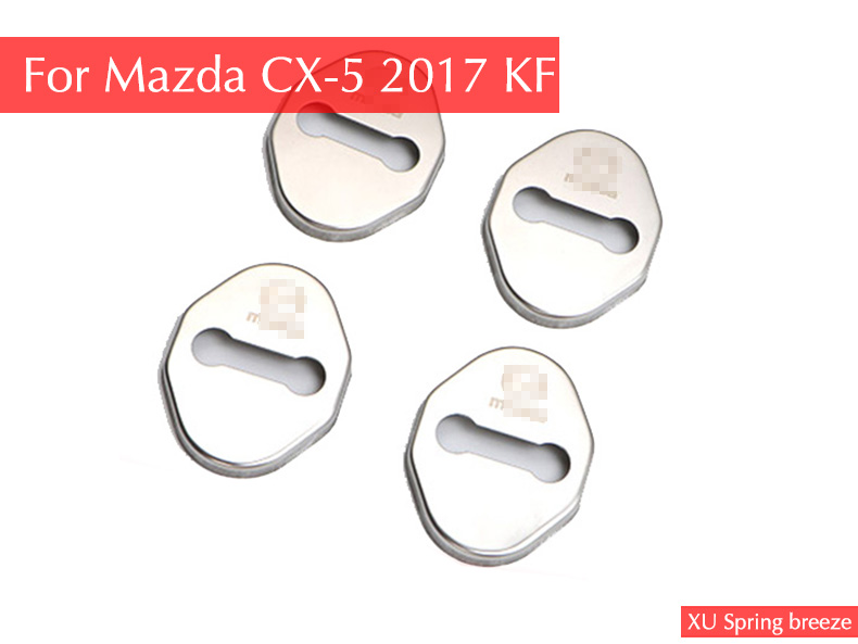 For Mazda CX-5 CX5 2017 2018 KF Car Door Lock Cover Protection Sticker Car Styling 4pcs/set With Logo for mazda cx 5 cx5 2nd gen 2017 2018 interior custom car styling waterproof full set trunk cargo liner mats tray protector