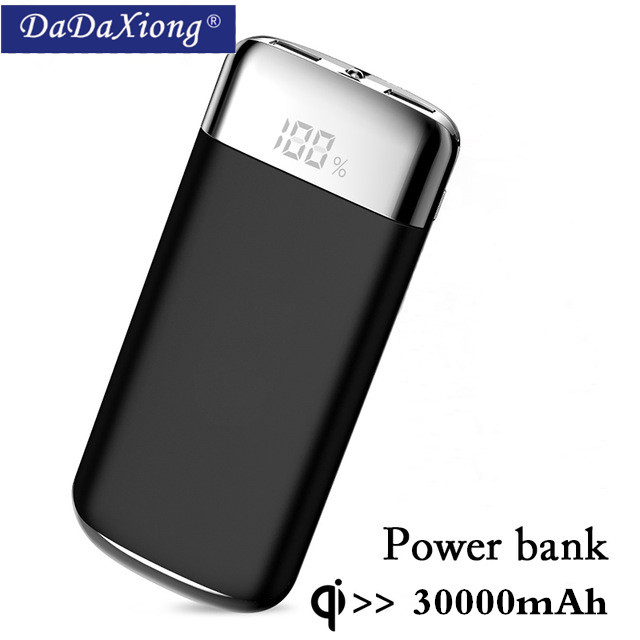 For Xiaomi MI iphone X Note 8 30000mah Power Bank External Battery PoverBank 2 USB LED Pow