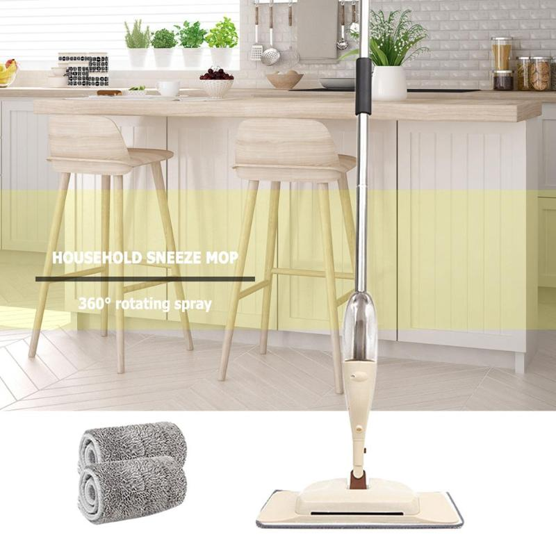 360 Degree Spray Floor Mop with 2 Fiber Pads Tiles Floor Cleaning Spray Microfiber Pads Handle Mop for Home Cleaning Tools