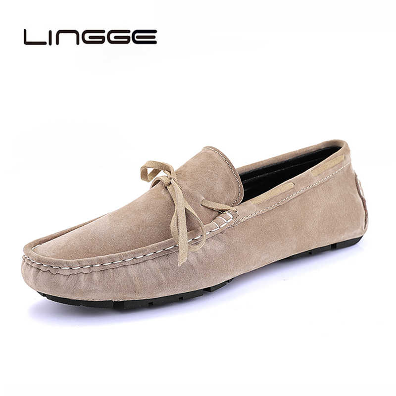 LINGGE 2019 แฟชั่นผู้ชายใหม่ลื่นบนเรือรองเท้า Loafers ชายขี้เกียจสบายๆรองเท้า Breathable Cow Suede Penny loafers