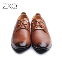 New 2017 Men Business Formal Dress Shoes Oxford Men Leather Shoes Lace-Up Pointed Toe British Style Men Shoes Brown Black