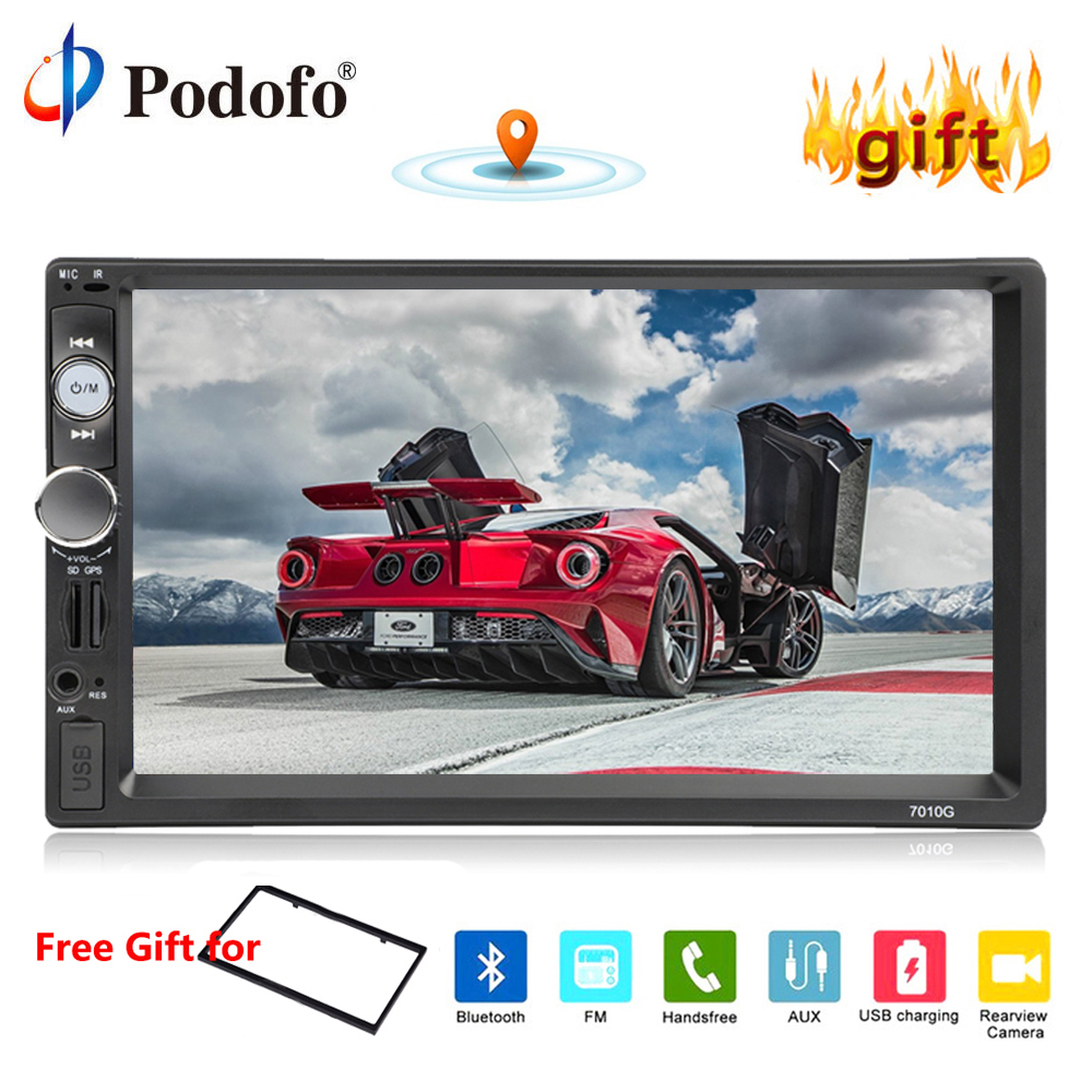 Podofo Autoradio GPS Navigation 2 din Car Multimedia Player Car Radio Car Stereo 7 HD Video