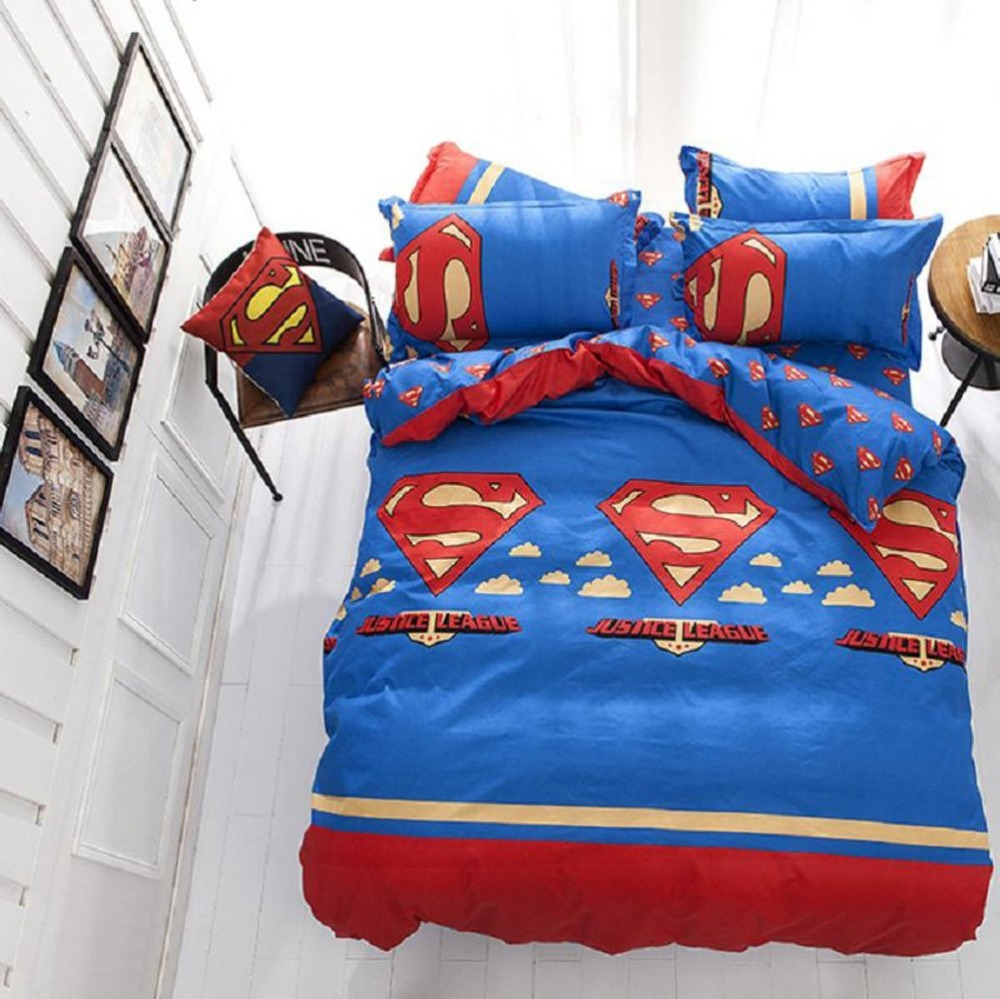 Bed sheets designs patchwork - Emailren Polyester Microfiber Duvet Cover Sets Superman Pattern Design Full Queen Size Bedding Sets
