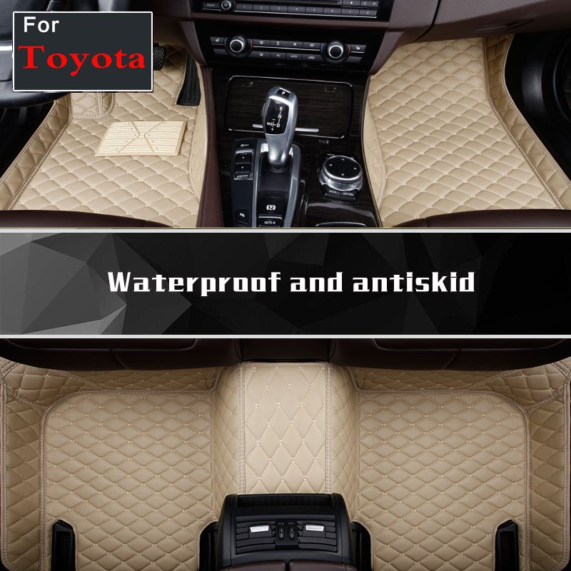 For Toyota Highlander Camry 200 Land Cruiser Custom Car Floor Mats Rugs Leather No Smell Auto Rug In Cars Interior Accessories interior leather custom car styling auto floor mats