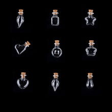 9 Shape Cute Mini DIY Glass Bottles Pendant Clear Cork Stopper Drift Wishing For Necklace/Mobile Chain Craft Jar