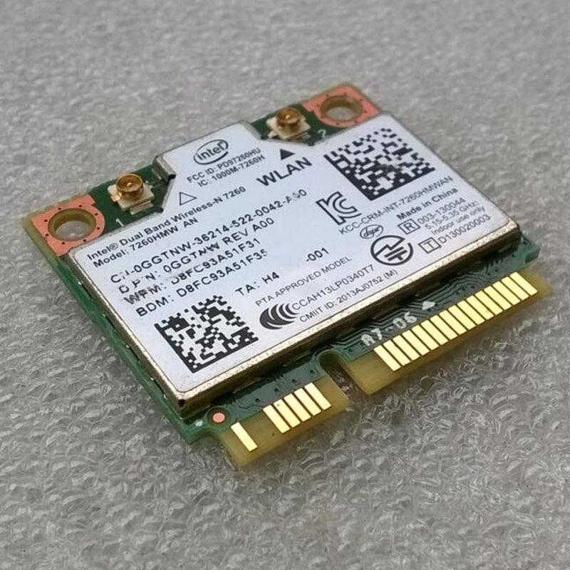 Int Dual Band Wireless-N 7260 802.11 a/b/g/n+Bluetooth4.0 PCI-E Half Mini Card,D P/N: 0GGTNW