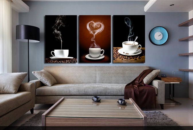 SVITY Coffee Cup Wall Canvas Painting Coffee 3 Panel Restaurant - Decoración del hogar - foto 4