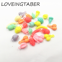 Newest 500g Lot Mixed Color Style Acrylic Tropical Fruit Pendants For Kids Jewelry Making