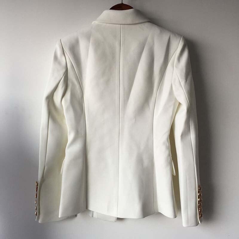 new arrival 1c1a7 667f3 Autunno Inverno Moda 2018 Star Runway Designer Giacche Donna oro Bottoni  doppio petto giacca bianca Cappotto S-XXL Abbigliamento