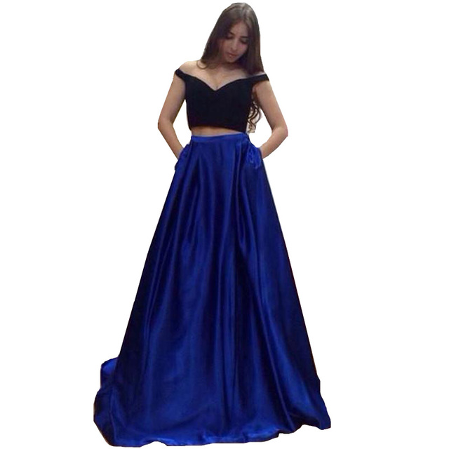 eaa7e0b0653 2019 Two Piece Long Prom Dresses Sexy Simple Royal Blue Black Satin Long  Formal Evening Party Gowns WH77