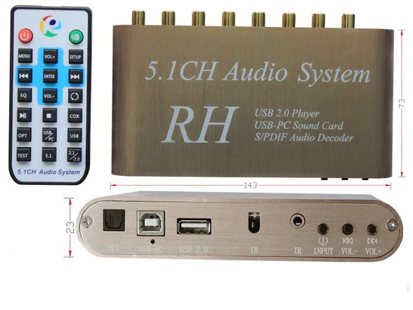GO520 USB Digital Sound/Media Player,5.1CH Audio System,DTS/AC3 S/PDIF Audio Decoder for 5.1 channel amplifier