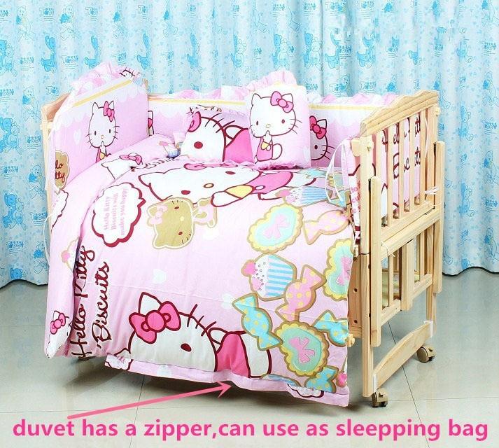 Promotion! 6PCS Cartoon Baby Girl Bedding 100%Cotton Printed Crib Bedding Set Cot Quilt (3bumper+matress+pillow+duvet)