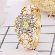 Pearl Fashion Womens Diamond Bracelet Table K Gold Watch Dress Watches Women