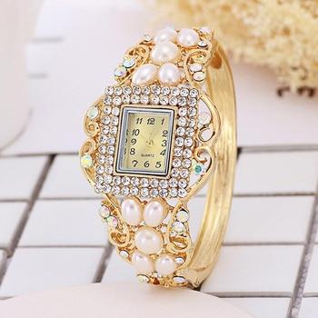 Pearl Fashion Womens Diamond Bracelet Table K Gold Watch Dress Watches Women