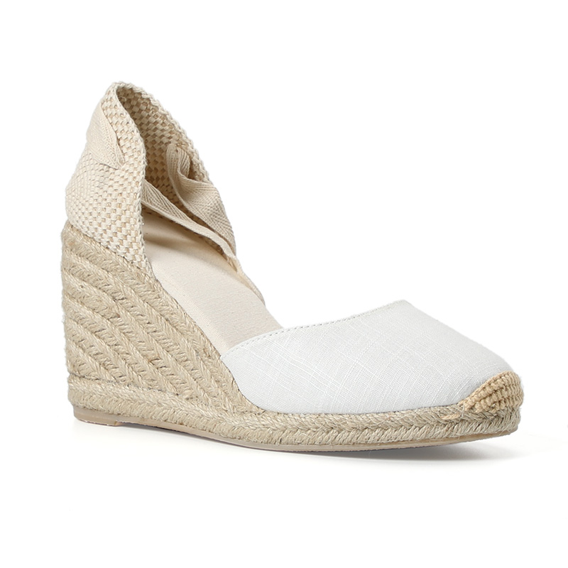 Womens Summer Espadrille Heel Platform Wedge Sandals Ankle Buckle Strap Closed Toe Shoescross-tied Rubber Lace-up