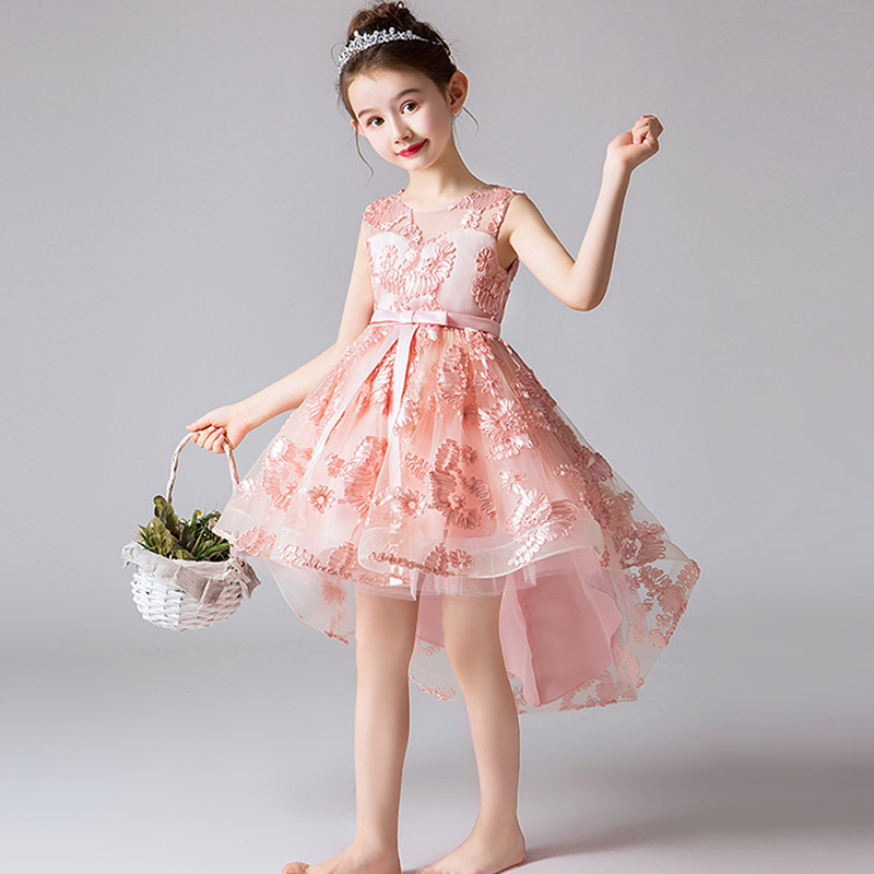 Girls  'Campus Graduation Dance Party Tail   Dress     Flower     Girls   Wedding Bridesmaids' Tail embroidered banquet Bridesmaid   Dress