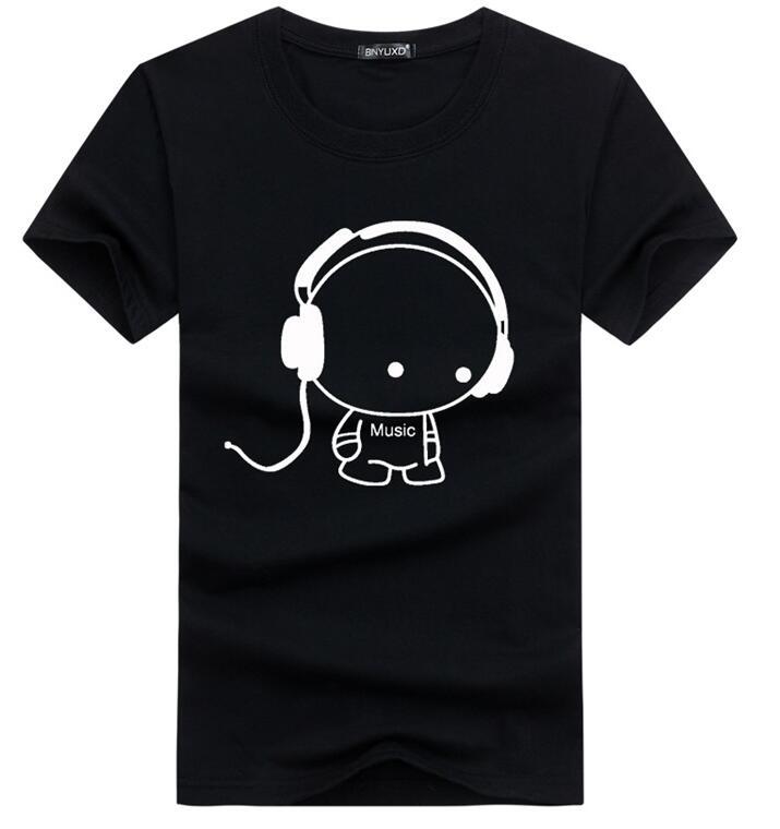 2018 Nouvelle Arrivée Hommes T-shirt Style Décontracté D'été Courtes En Coton Manches Multi Couleur Mâle Matériel De Dessin Animé sur taille