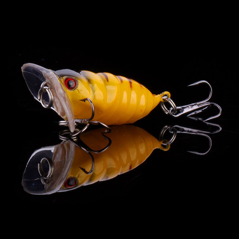 WALK FISH 1PCS Cicada 3.6g 3.5cm Perch Insect Lure Bait Fishing Lure Treble Barb Hooks Fishing Tackle Artificial Bait