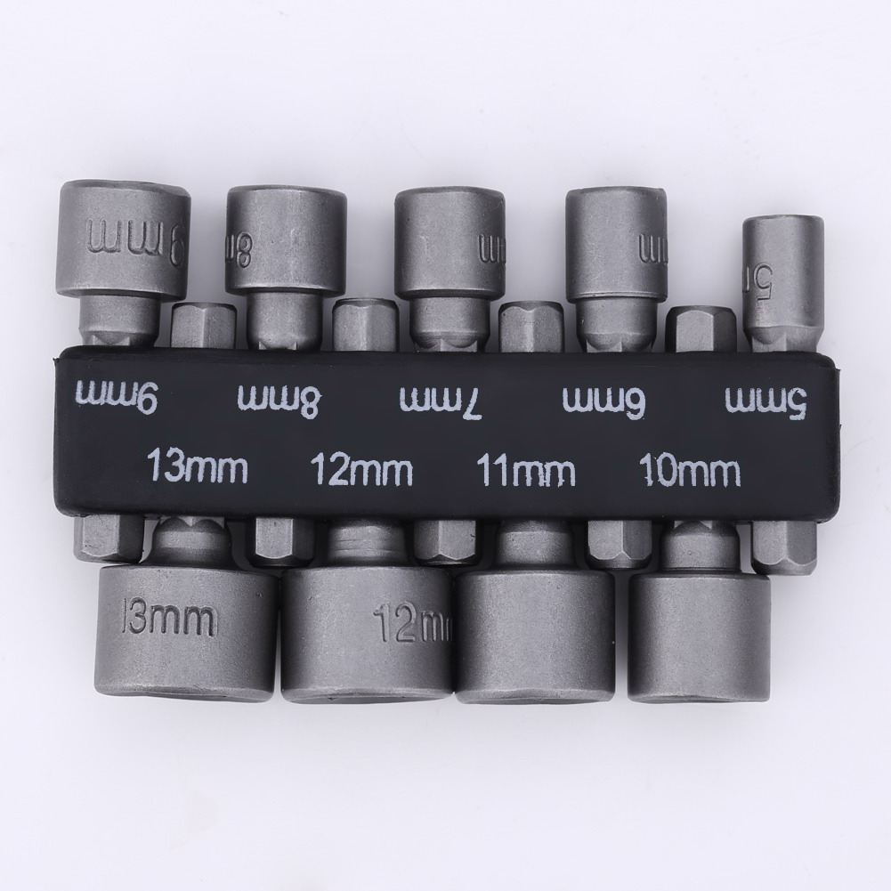 New 9pcs/set 6mm-13mm Hex Socket Sleeve Nozzles Magnetic Nut Driver Set Drill Bit Adapter Hex Power Tools for Woodworking 8pc 6 13mm hex socket strong magnetic