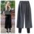 Elegante 2017 Nova Primavera Calças Mulheres Europeu Elegante de Lã Calças de Cintura Elástica para As Mulheres de Tamanho Grande Calças Perna Larga Fêmea Mais