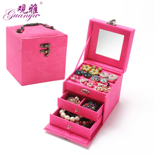 Guanya hot sell protable Velvet jewelry organizer jewel case 3 layers new style jewelry gift box for christmas day
