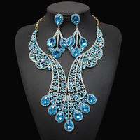 Gorgeous Bridal Jewelry Sets for Women Gold Color Big blue Crystal Statement Necklace Earrings Set Wedding Party Costume Jewelry