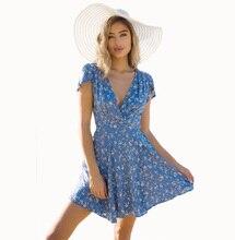 Flying ROC casual women summer  beach dress short sleeve V-neck mini autumn new arrival print sexy dresses