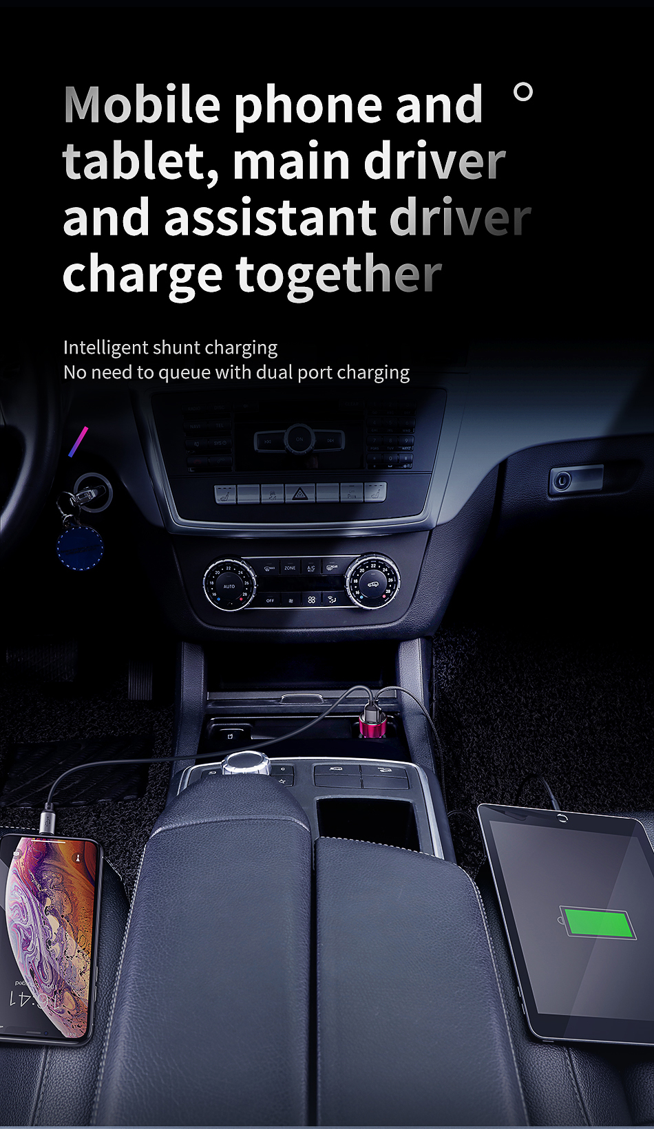 Baseus 45W Quick Car Fast Charger For Apple, Android