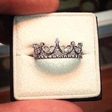 Ailend anillo de plata mujer diseño de personalidad corona de cristal de joyería de anillo de 2019 nuevos regalos de fiesta