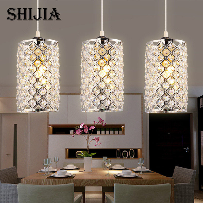 Modern minimalist Gold Silver Crystal Pendant Lights for Dining Room Restaurant Kitchen Island Round Base Pendant Hanging Lamp